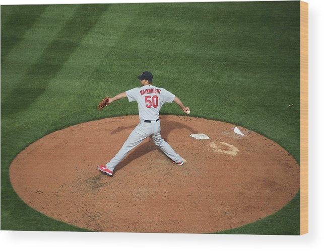 Great American Ball Park Wood Print featuring the photograph Adam Wainwright by John Grieshop