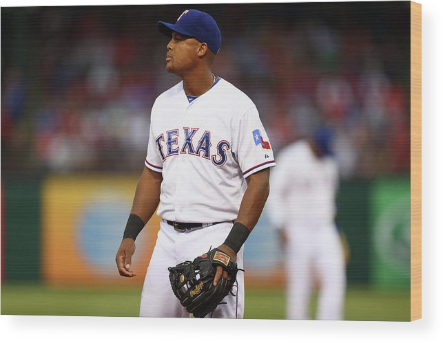 Adrian Beltre Wood Print featuring the photograph Adrian Beltre by Ronald Martinez