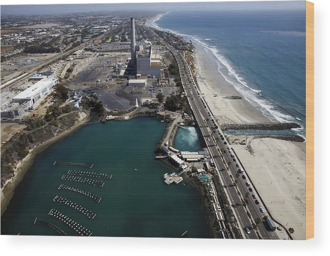 Environmental Conservation Wood Print featuring the photograph Aerial Views Of Construction On The Carlsbad Desalination Plant by Bloomberg