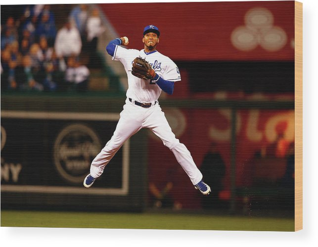 People Wood Print featuring the photograph Alcides Escobar by Jamie Squire
