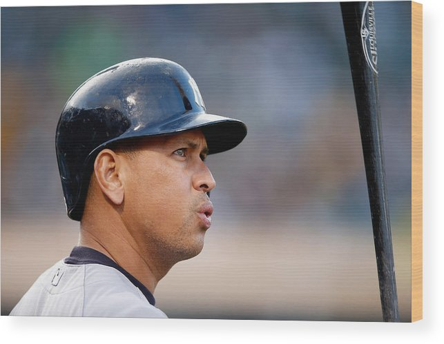 People Wood Print featuring the photograph Alex Rodriguez by Ezra Shaw