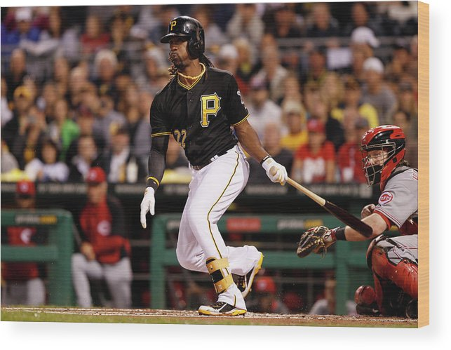 Pnc Park Wood Print featuring the photograph Andrew Mccutchen by David Maxwell