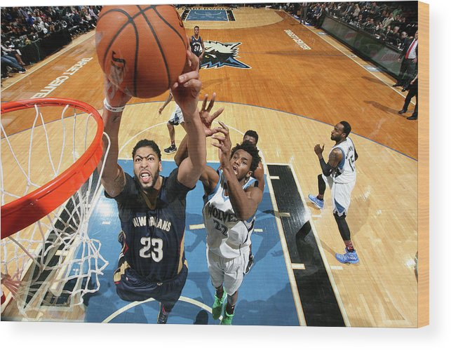 Nba Pro Basketball Wood Print featuring the photograph Anthony Davis by David Sherman