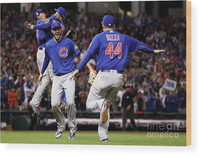 People Wood Print featuring the photograph Anthony Rizzo and Kris Bryant by Ezra Shaw