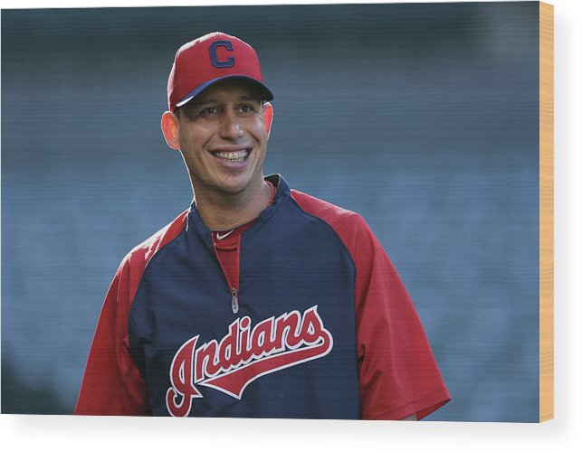 American League Baseball Wood Print featuring the photograph Asdrubal Cabrera by Jeff Gross