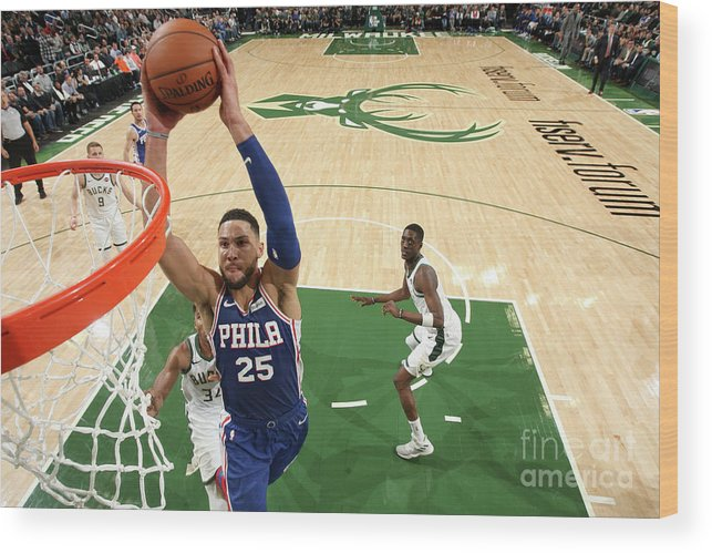 Nba Pro Basketball Wood Print featuring the photograph Ben Simmons by Gary Dineen