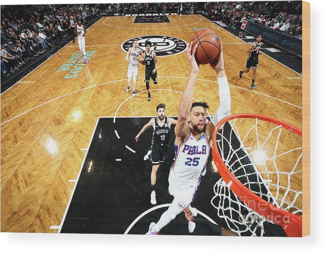 Nba Pro Basketball Wood Print featuring the photograph Ben Simmons by Nathaniel S. Butler