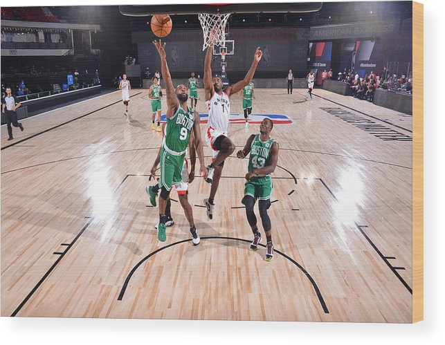 Nba Pro Basketball Wood Print featuring the photograph Boston Celtics v Toronto Raptors by Bill Baptist