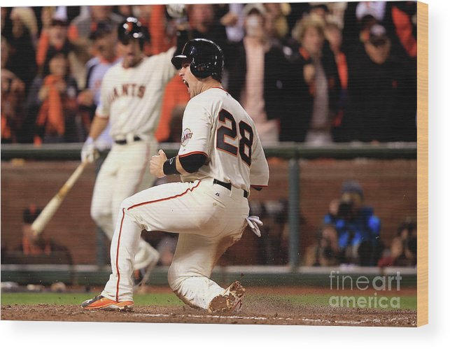 San Francisco Wood Print featuring the photograph Buster Posey by Jamie Squire