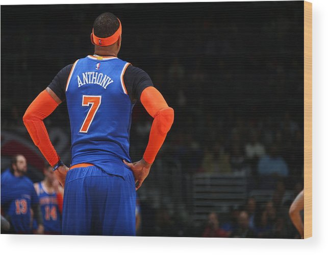 Nba Pro Basketball Wood Print featuring the photograph Carmelo Anthony by Ned Dishman