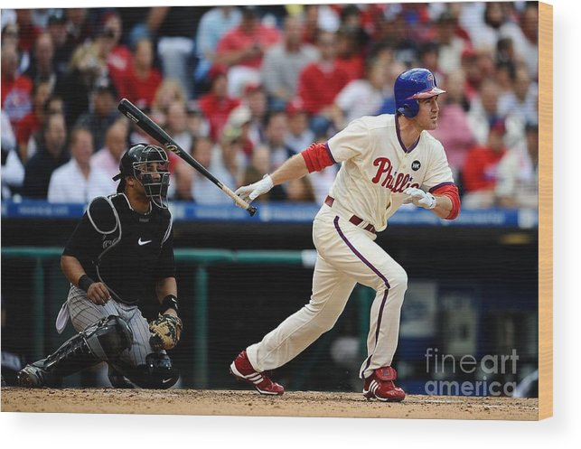 Playoffs Wood Print featuring the photograph Chase Utley by Jeff Zelevansky