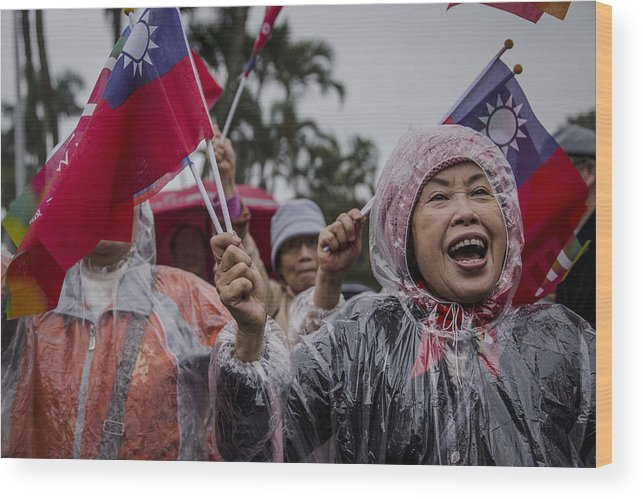 Taiwan Wood Print featuring the photograph Chu's Final Rally Ahead Of Taiwan Election by Ulet Ifansasti