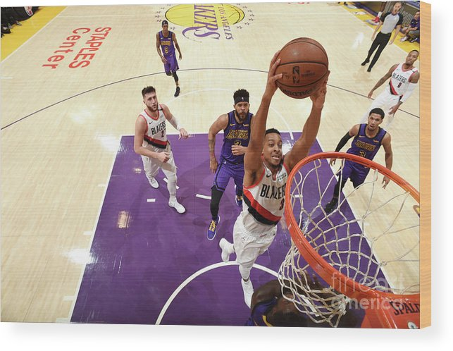 Nba Pro Basketball Wood Print featuring the photograph C.j. Mccollum by Andrew D. Bernstein