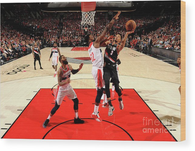 Nba Pro Basketball Wood Print featuring the photograph C.j. Mccollum by Cameron Browne