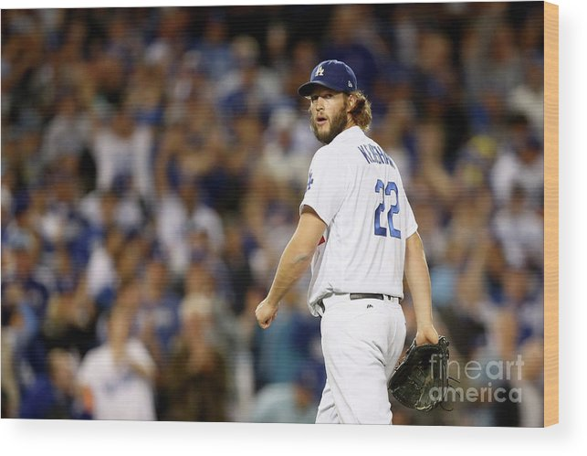Three Quarter Length Wood Print featuring the photograph Clayton Kershaw by Ezra Shaw