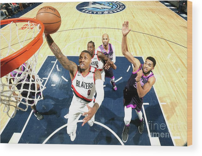 Nba Pro Basketball Wood Print featuring the photograph Damian Lillard by David Sherman