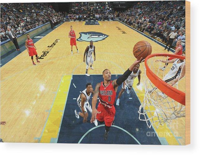 Nba Pro Basketball Wood Print featuring the photograph Damian Lillard by Joe Murphy
