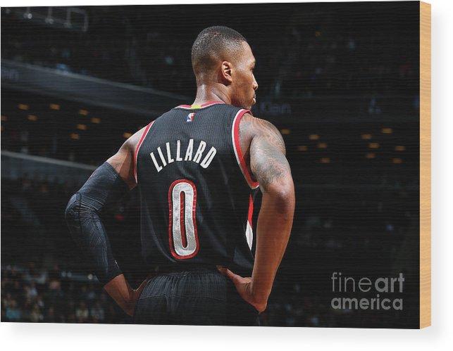 Nba Pro Basketball Wood Print featuring the photograph Damian Lillard by Nathaniel S. Butler