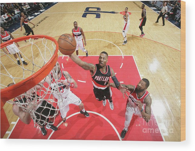 Nba Pro Basketball Wood Print featuring the photograph Damian Lillard by Ned Dishman