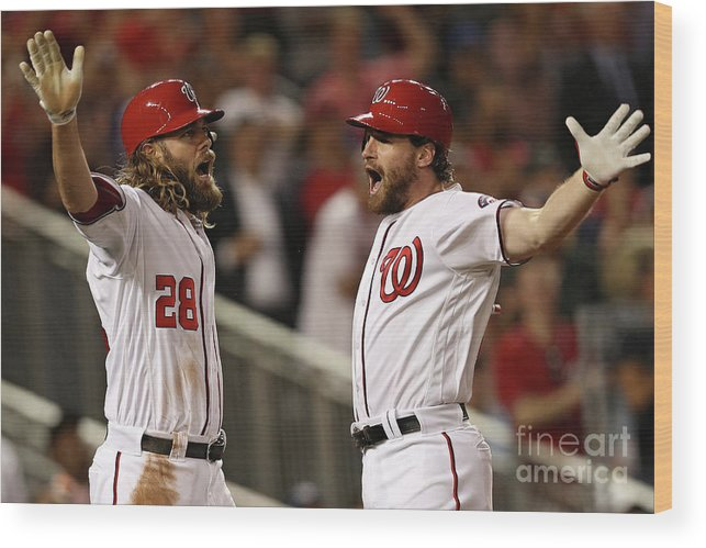 Three Quarter Length Wood Print featuring the photograph Daniel Murphy and Jayson Werth by Patrick Smith