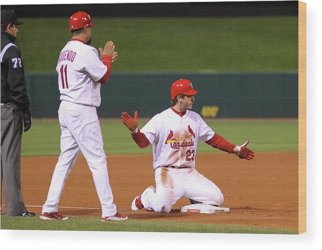 St. Louis Cardinals Wood Print featuring the photograph David Freese by Ezra Shaw