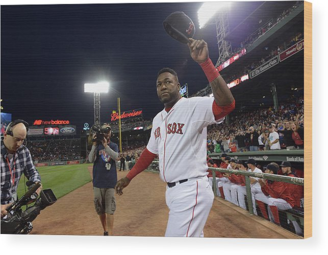 Crowd Wood Print featuring the photograph David Ortiz by Darren Mccollester