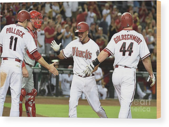 Second Inning Wood Print featuring the photograph David Peralta and Paul Goldschmidt by Norm Hall