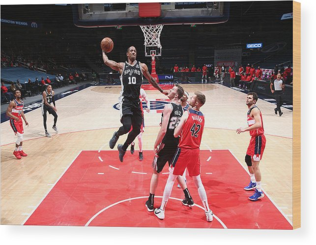 Nba Pro Basketball Wood Print featuring the photograph Demar Derozan by Ned Dishman