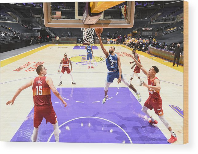 Nba Pro Basketball Wood Print featuring the photograph Denver Nuggets v Los Angeles Lakers by Adam Pantozzi