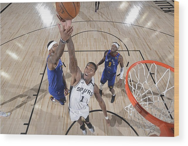 Nba Pro Basketball Wood Print featuring the photograph Denver Nuggets v San Antonio Spurs by David Dow