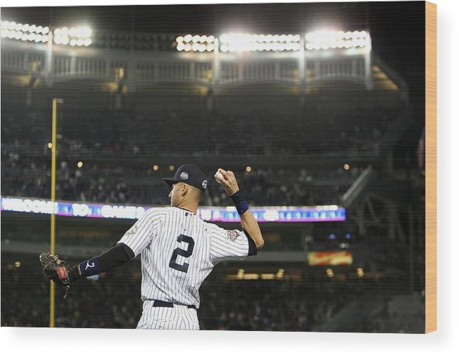 Game Two Wood Print featuring the photograph Derek Jeter by Jed Jacobsohn