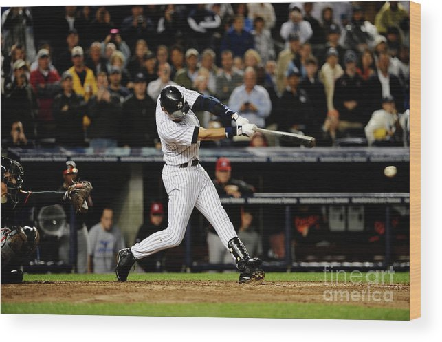 People Wood Print featuring the photograph Derek Jeter by Jeff Zelevansky