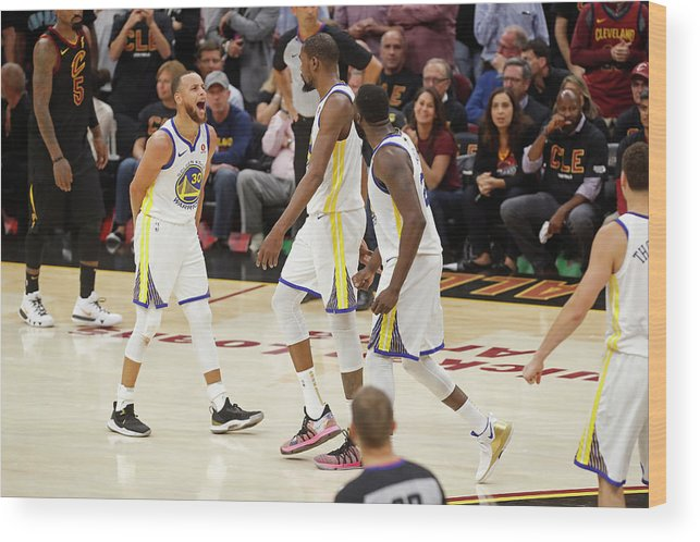 Playoffs Wood Print featuring the photograph Draymond Green, Stephen Curry, and Kevin Durant by Mark Blinch