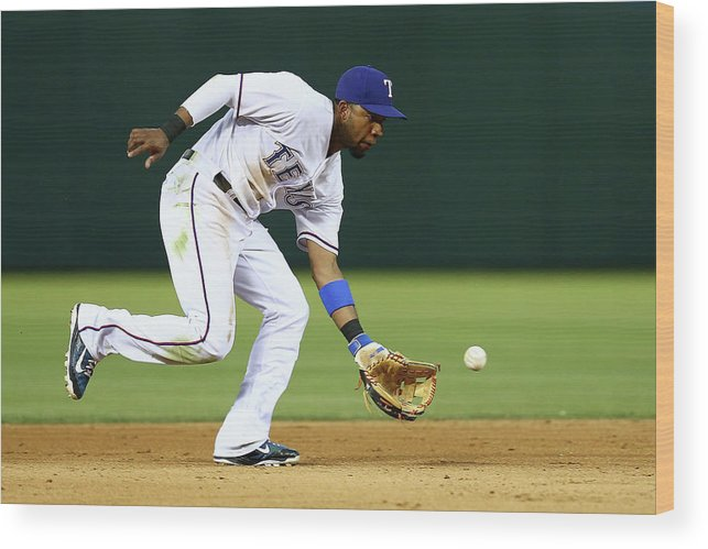 People Wood Print featuring the photograph Elvis Andrus by Sarah Crabill