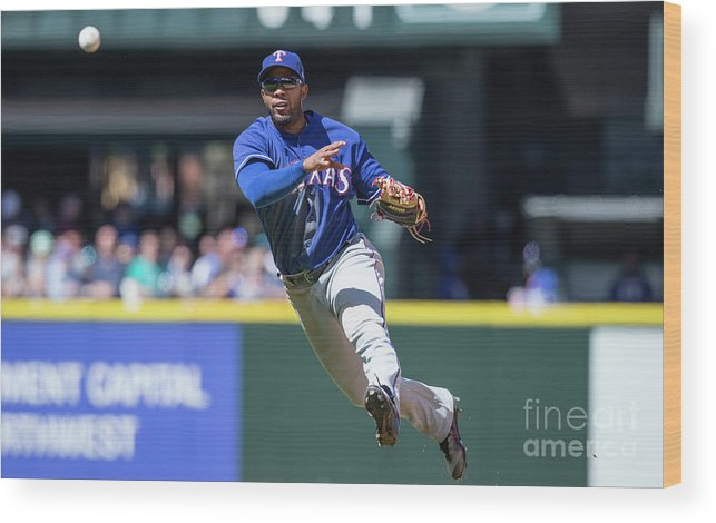 American League Baseball Wood Print featuring the photograph Elvis Andrus by Stephen Brashear