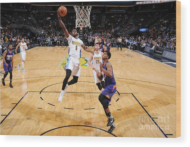 Nba Pro Basketball Wood Print featuring the photograph Emmanuel Mudiay by Garrett Ellwood