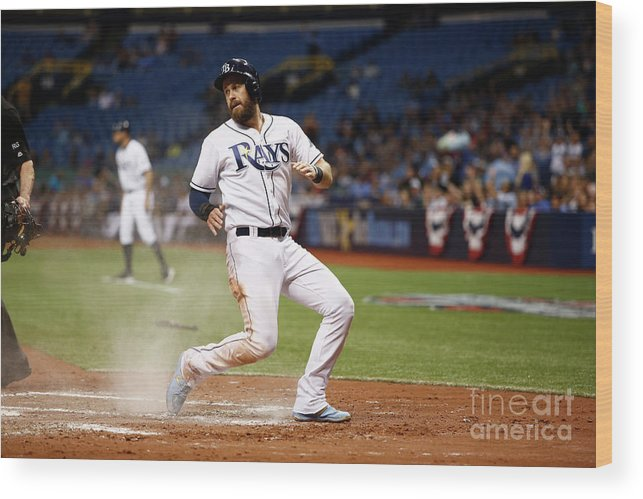 Second Inning Wood Print featuring the photograph Evan Longoria and Derek Norris by Brian Blanco