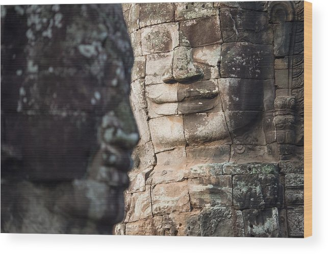 Relief Carving Wood Print featuring the photograph face of Bhudha at Bayon temple by Skaman306