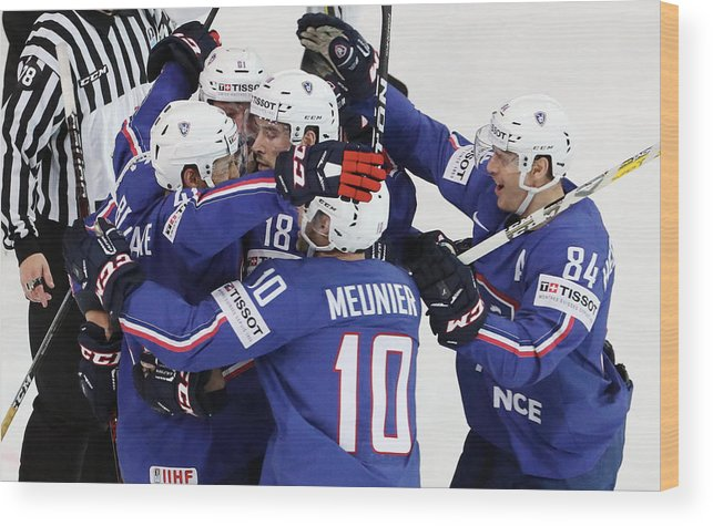 People Wood Print featuring the photograph Finland v France - 2017 IIHF Ice Hockey World Championship by Xavier Laine