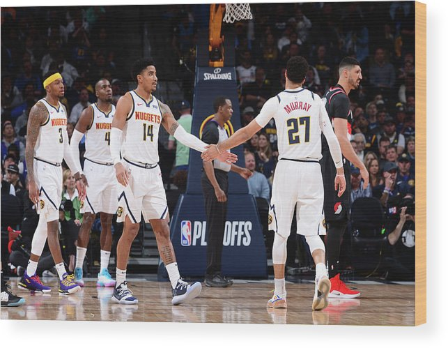 Playoffs Wood Print featuring the photograph Gary Harris and Jamal Murray by Bart Young