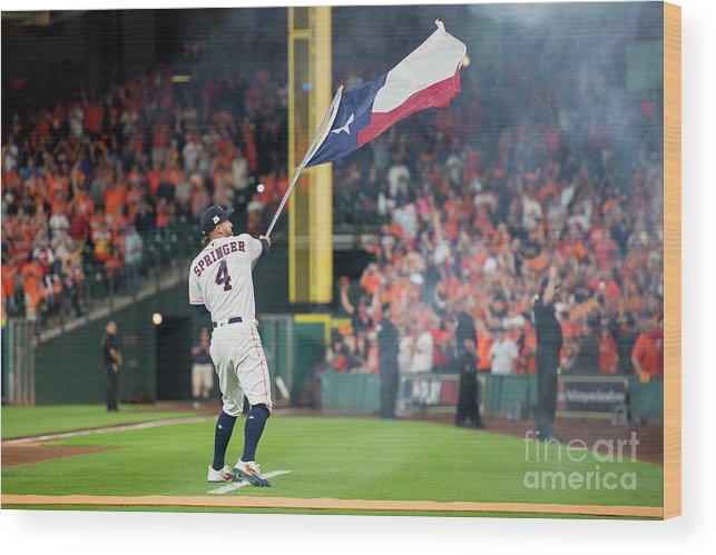 People Wood Print featuring the photograph George Springer by Billie Weiss/boston Red Sox