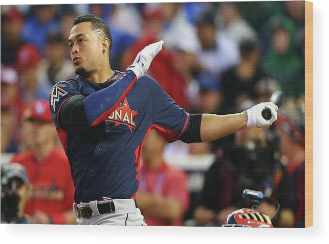 American League Baseball Wood Print featuring the photograph Giancarlo Stanton by Elsa