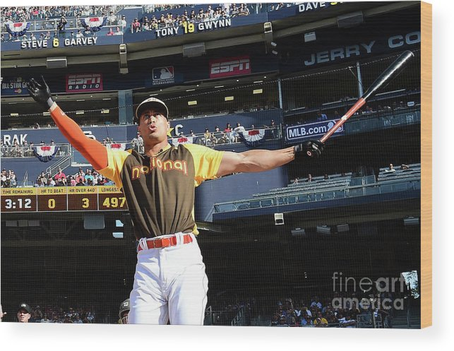 Three Quarter Length Wood Print featuring the photograph Giancarlo Stanton by Harry How