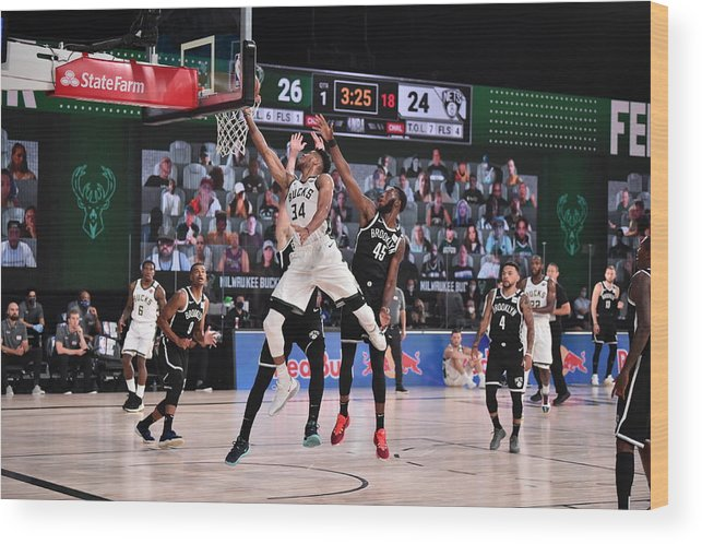 Nba Pro Basketball Wood Print featuring the photograph Giannis Antetokounmpo by David Dow
