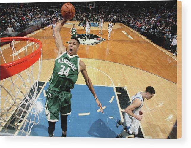 Nba Pro Basketball Wood Print featuring the photograph Giannis Antetokounmpo by David Sherman