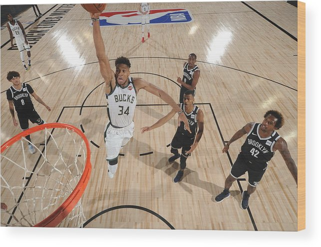 Nba Pro Basketball Wood Print featuring the photograph Giannis Antetokounmpo by Joe Murphy