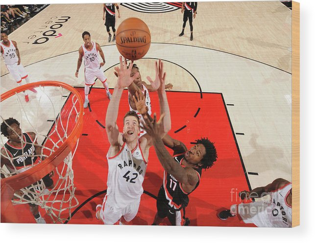 Nba Pro Basketball Wood Print featuring the photograph Jakob Poeltl by Cameron Browne