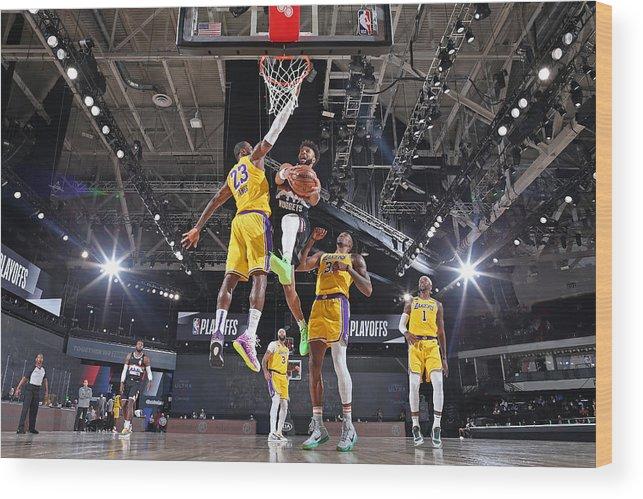 Nba Pro Basketball Wood Print featuring the photograph Jamal Murray and Lebron James by Garrett Ellwood
