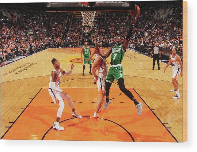 Nba Pro Basketball Wood Print featuring the photograph Jaylen Brown by Barry Gossage