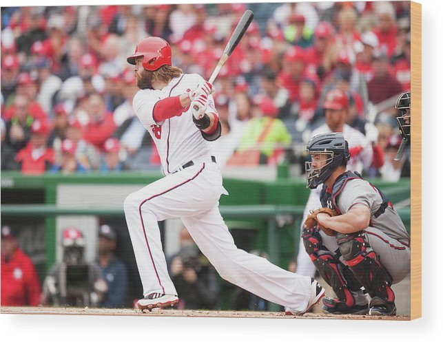 National League Baseball Wood Print featuring the photograph Jayson Werth by Mitchell Layton